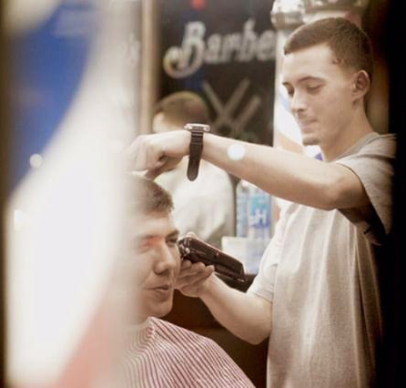 Barber Morgan at Mikes Barber Shop
